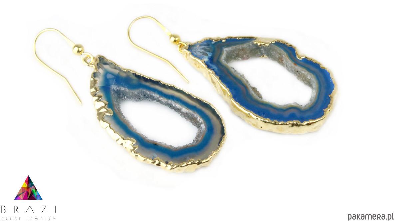 Earrings Plastry Geody Agatu Błękitne złoto