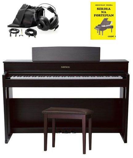 Samick Piano DP-500 RW - pianino cyfrowe + słuchawki + książka