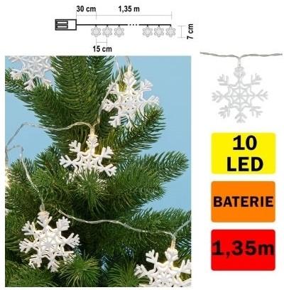 FK Technics LED Łańcuch świąteczny płatek śniegu 10xLED/2xAA