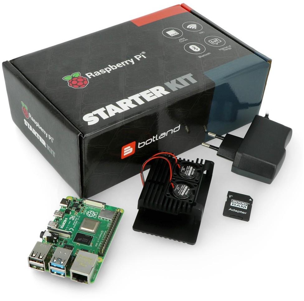 Raspberry PI RPi & Botland Zestaw z 4B WiFi 8GB RAM + akcesoria - obudowa z dwoma wentylatorami RPI-16850