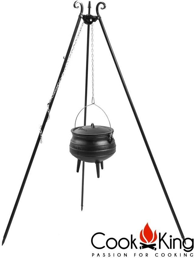 Cook King Kociołek afrykański żeliwny 13 l na trójnogu z kołowrotkiem 180 cm