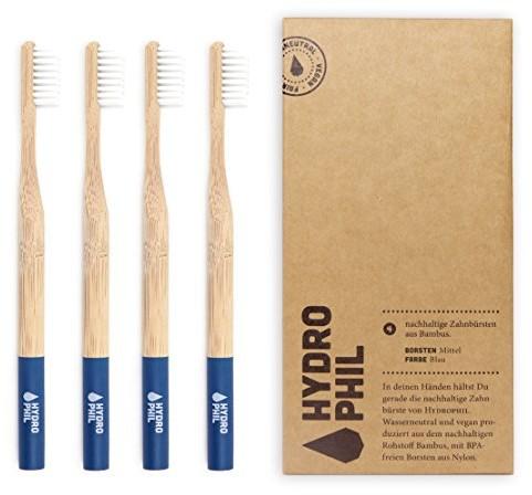 Hydrophil Hydro Phil zrównoważonego szczoteczka do zębów z bambusa Niebieski extraweich 4er Pack miękkie
