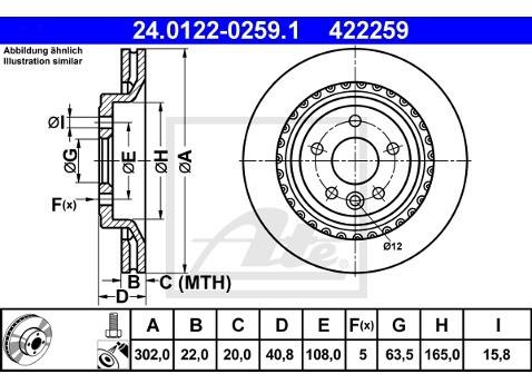 ATE TARCZA HAM 24.0122-0259.1 VOLVO S60 II D3 136KM 12-, D5 215KM 11-, T3 150KM 10-  24.0122-0259.1