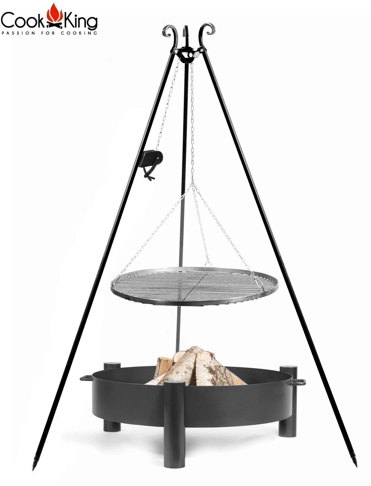 Cook&King Grill z kołowrotkiem stal czarna 70cm + palenisko Haiti 80cm