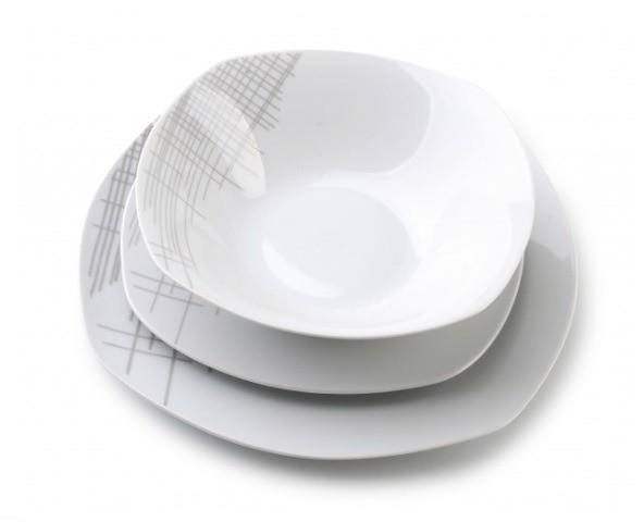 Mondex Komplet serwis obiadowy 18 el. talerze kwadrat 6 osób HTTB5853