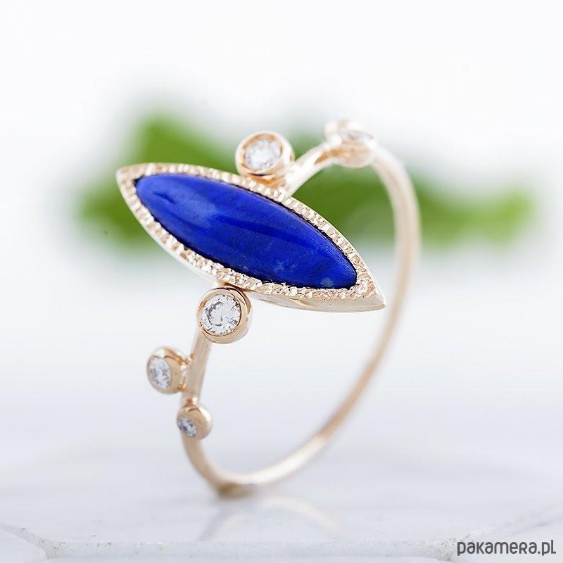 Skagen Lapis lazuli i diamenty - złoty pierścionek