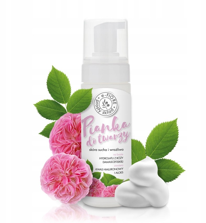 Naturalna pianka do mycia twarzy z różą e-Fiore