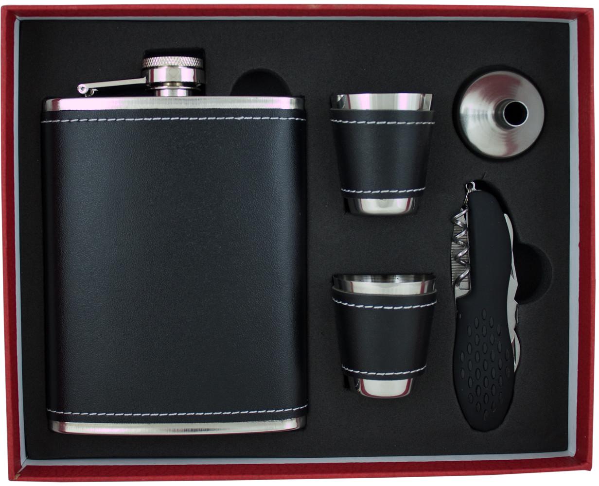 HINZ Design Piersiówka Black w Zestawie ze scyzorykiem KW8S