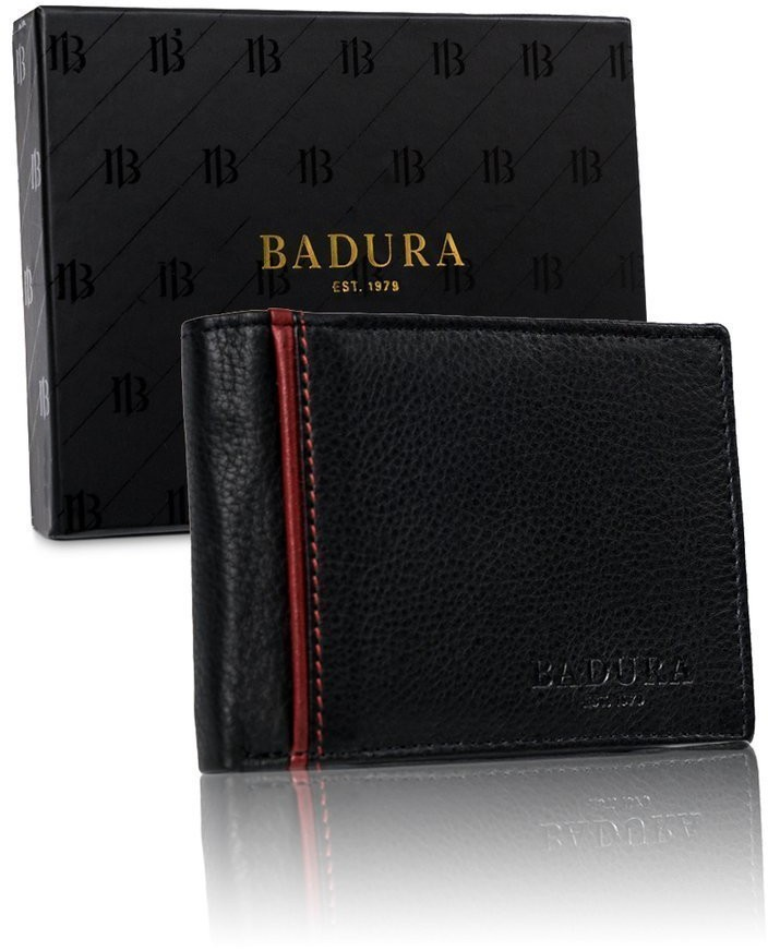 BADURA Skórzany portfel męski poziomy Badura ochrona RFID