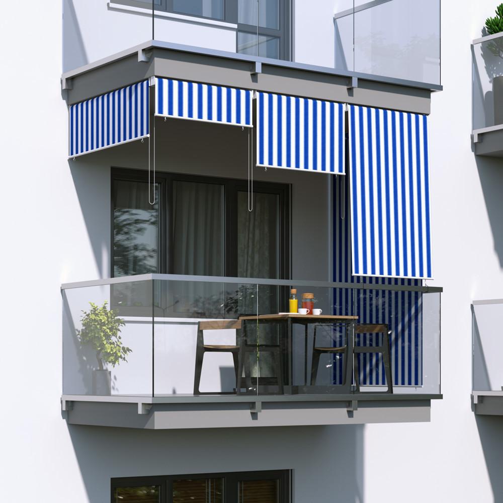 Jarolift Roleta na balkon/markiza pionowa, Biało-niebieska, 180x240cm