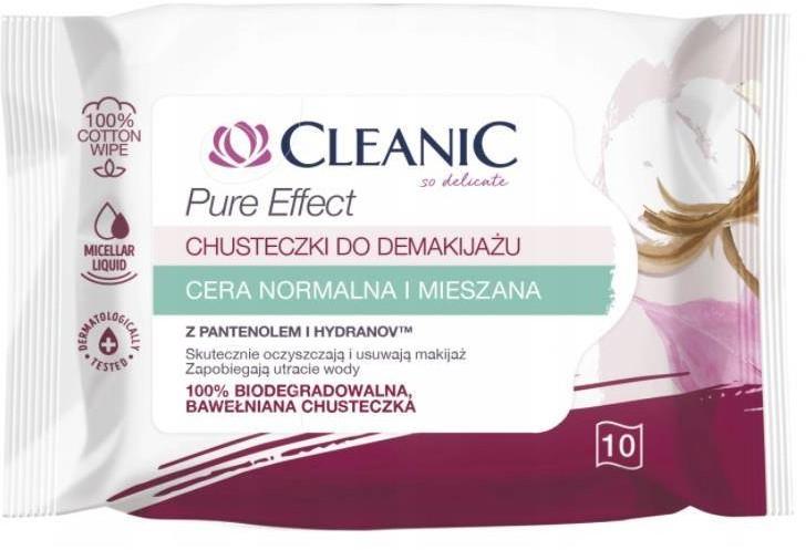 Cleanic Pure Effect chusteczki do demakijażu do cery normalnej i mieszanej 10szt. 92223-uniw