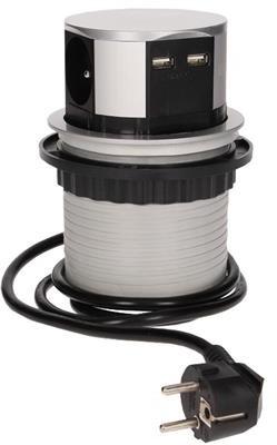 Orno Gniazdo meblowe, wysuwane z blatu 3x250V AC z ładowarką USB i przewodem 1,5m OR-AE-1342 OR-AE-1342