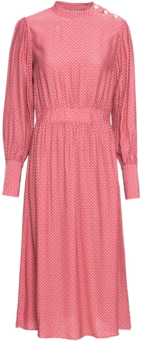 Bonprix Sukienka midi z guzikami jeżynowy antyczny - stary jasnoróżowy w kropki