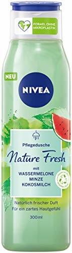NIVEA Nature Fresh pielęgnujący żel pod prysznic arbuz (300 ml) z formułą bez mikroplastiku, wegańska pielęgnacja pod prysznic o owocowym zapachu