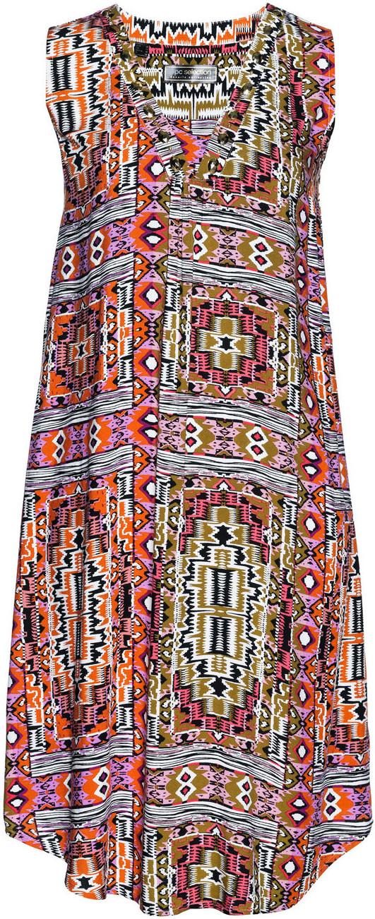 Bonprix Sukienka z wiskozy khaki z nadrukiem