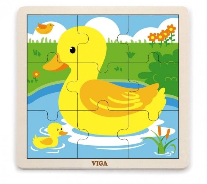 VIGA 51436 Puzzle na podkładce 9 elementów - kaczuszki