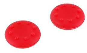 Nakładka nasadka silikonowa na analog grzybek pada Sony PlayStation 2 & 3 PS2 PS3, Microsoft Xbox 360 - zestaw 2 szt. (czerwona)