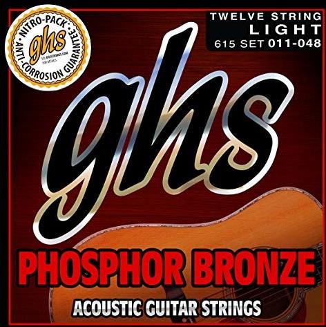 GHS FOSPHOR BRONZE - zestaw strun do gitary akustycznej - 12-strunowy - 615 - lekki - 011/048 GHS615