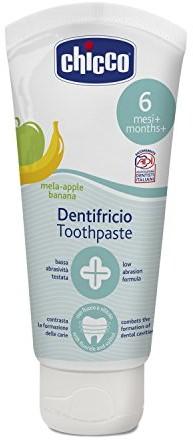 Chicco 00002320100000pasta do zębów, jabłko/-smak, bez fluorku bananowe, 6m +, biały 00002320100000