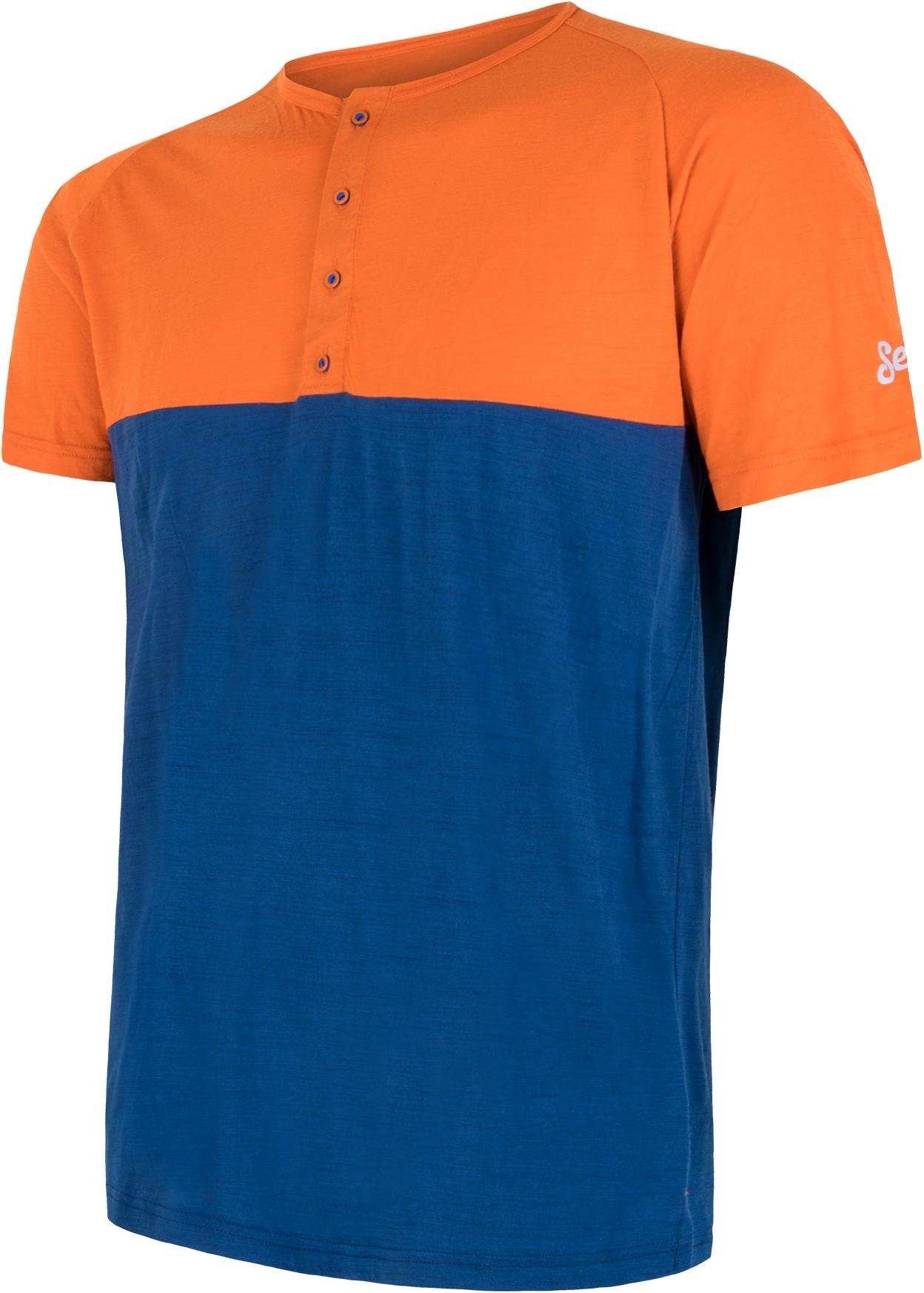 Sensor t shirt męski z guzikami Merino Air PT pomarańczowo niebieski XL