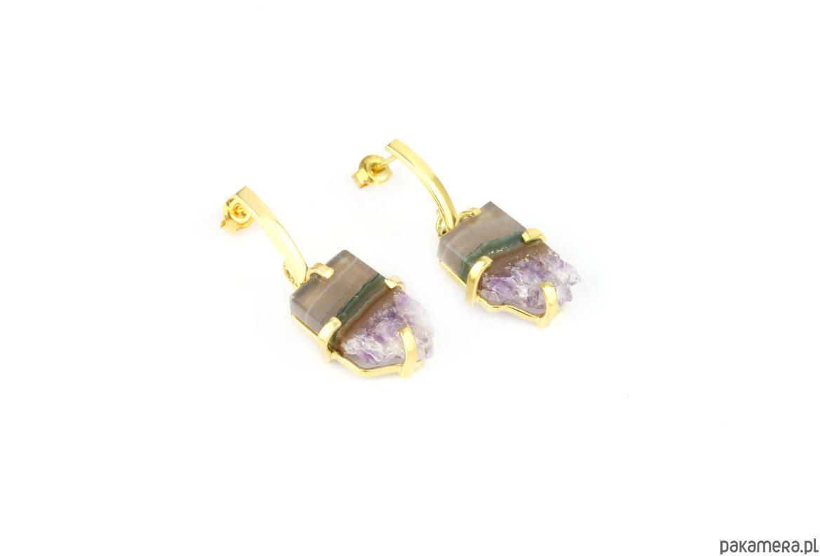 Earrings Plastry Ametystu Szaro-fioletowe złoto