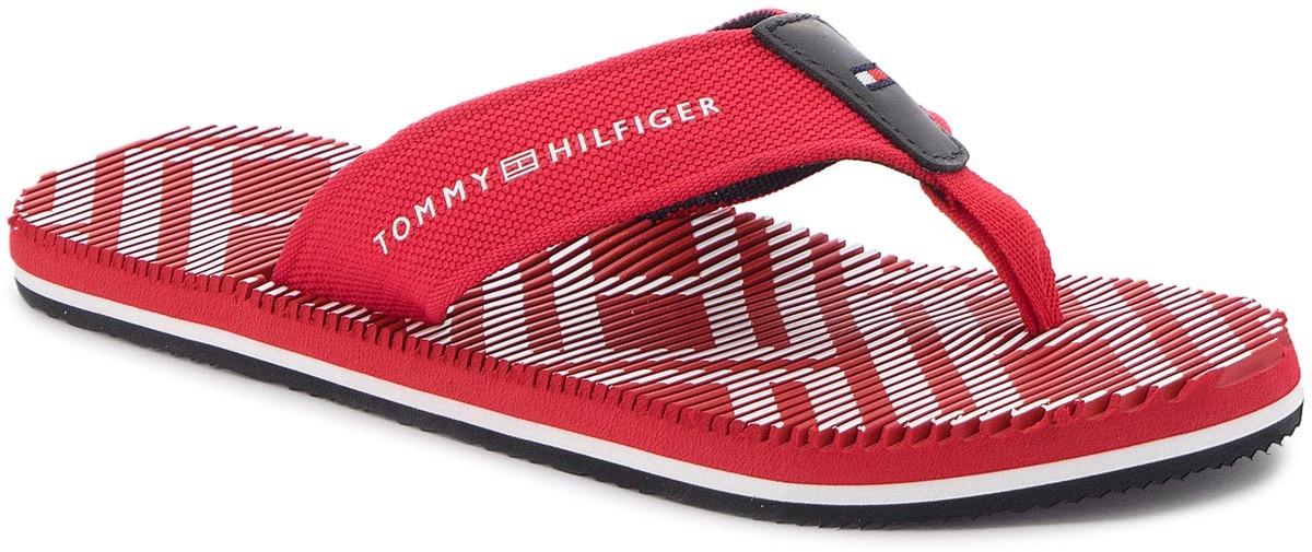 6b4ddc3b14905 Tommy Hilfiger Japonki Corporate Stripe Beach Sandal FM0FM01366 Tango Red  611