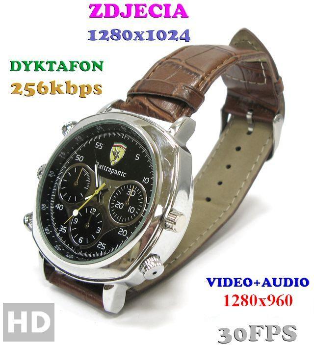 Spy Szpiegowski Zegarek na Rękę HD 8GB) Nagrywający Dźwięk i Obraz + Rejestrator Dźwięku + Ap Foto 590175129549