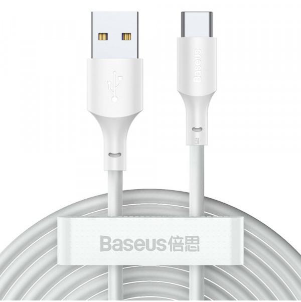 Baseus Simple Wisdom Data Cable Kit USB to Type-C 5A (2PCS/Set1.5m White