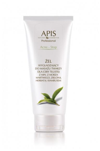 Apis Professional APIS Acne-Stop żel wygładzający do masażu twarzy dla cery trądzikowej, tłustej, mieszanej z minerałami z Morza Martwego 200 ml