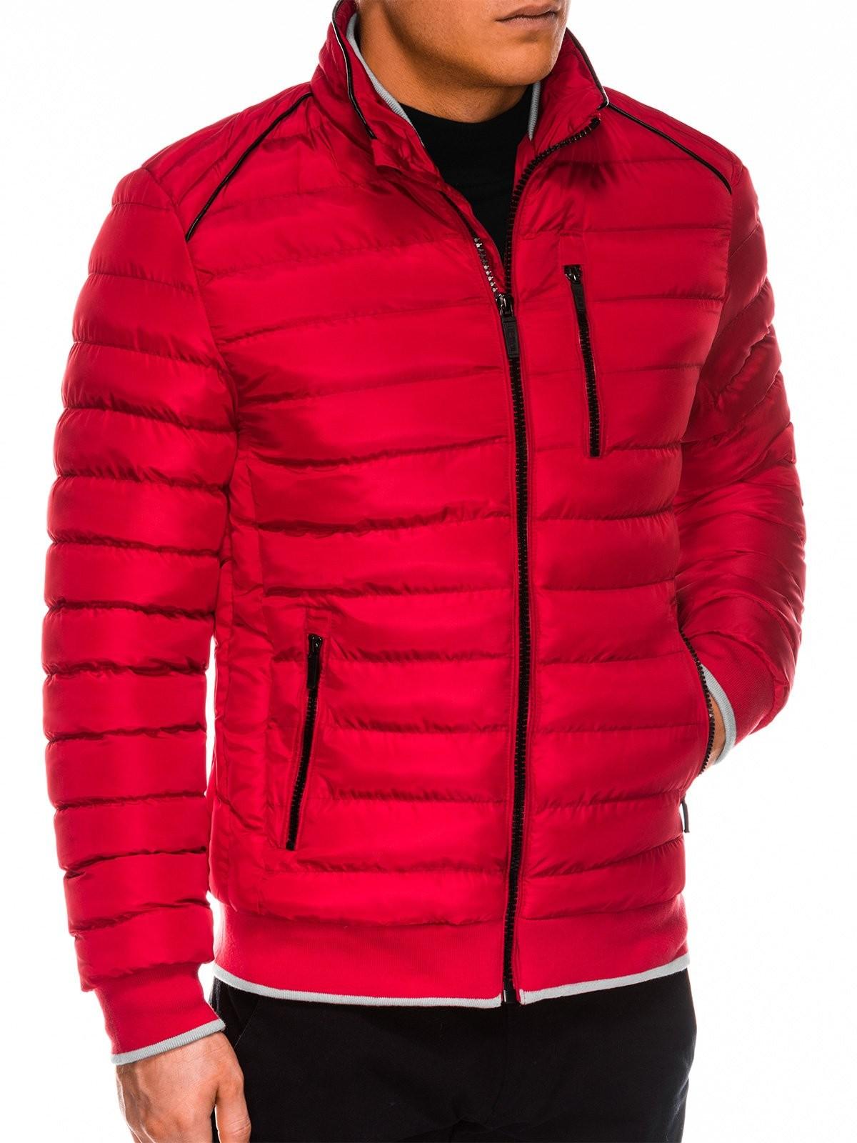 Ombre Kurtka męska zimowa C422 - czerwona
