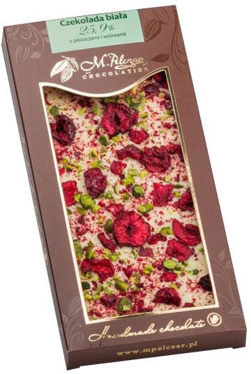 M.Pelczar Chocolatier Biała czekolada z pistacjami i wiśniami 2589-uniw