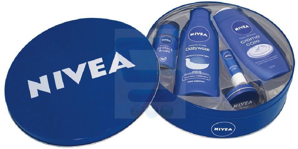 Nivea Creme Care Zestaw Dezodorant w kulce + Odżywcze mleczko do ciała + Żel pod prysznic + Krem w blaszce + Pomadka ochronna do ust + Puszka