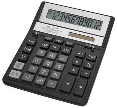 CITIZEN Kalkulator biurowy CITIZEN SDC-888XBK 12-cyfrowy 203x158mm czarny 10000_7702