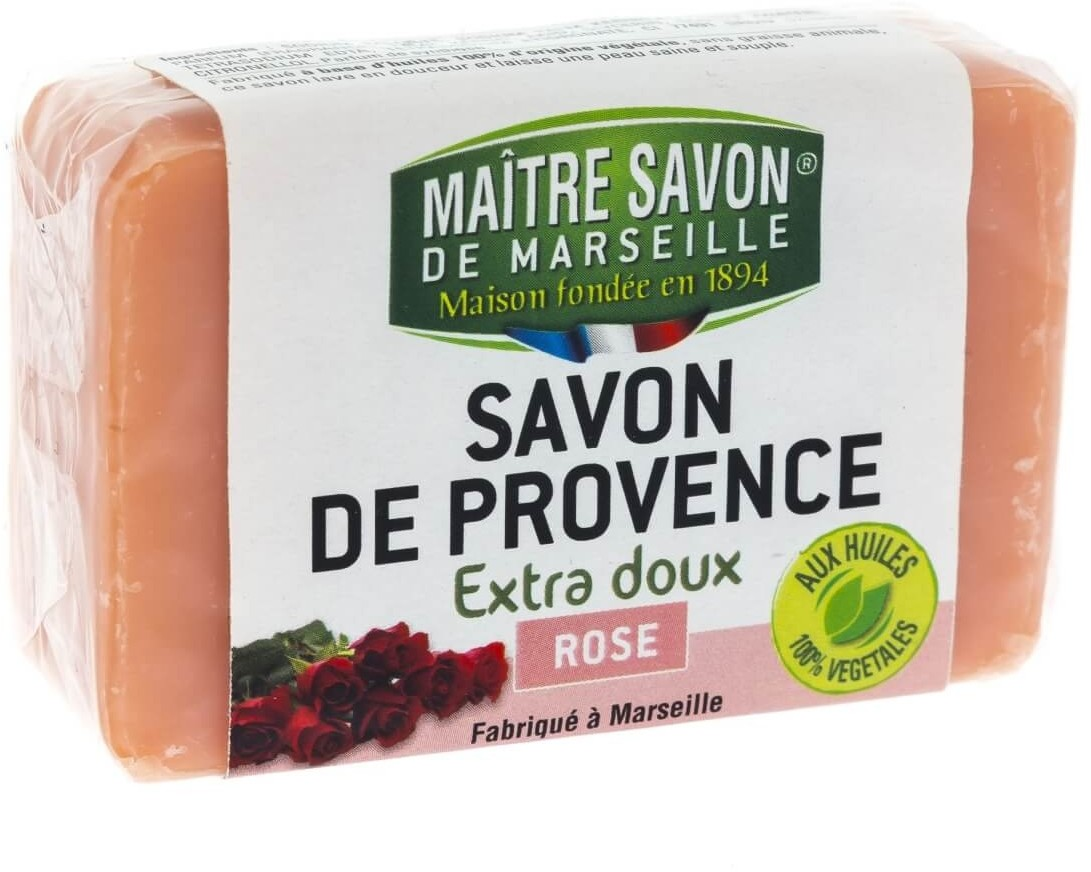 Maitre Savon De Marseille Mydło marsylskie róża 100 g - Maître Savon