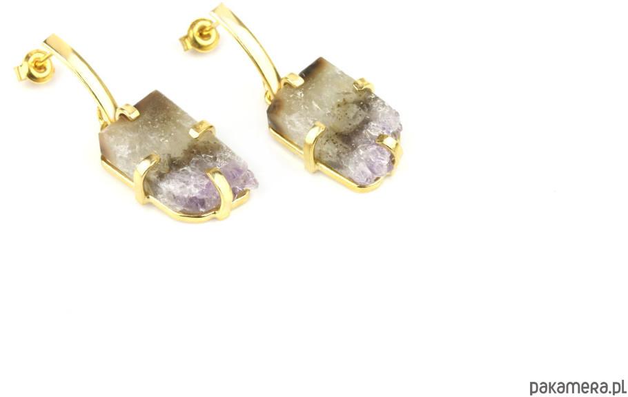 Earrings Plastry Ametystu złoto