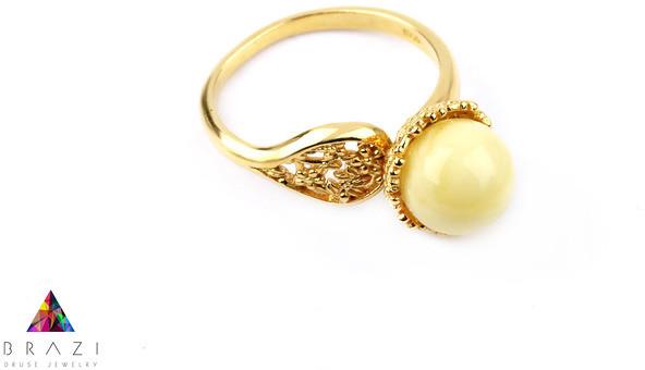 Brazi Druse Jewelry Pierścionek Bursztyn Królewski złoto