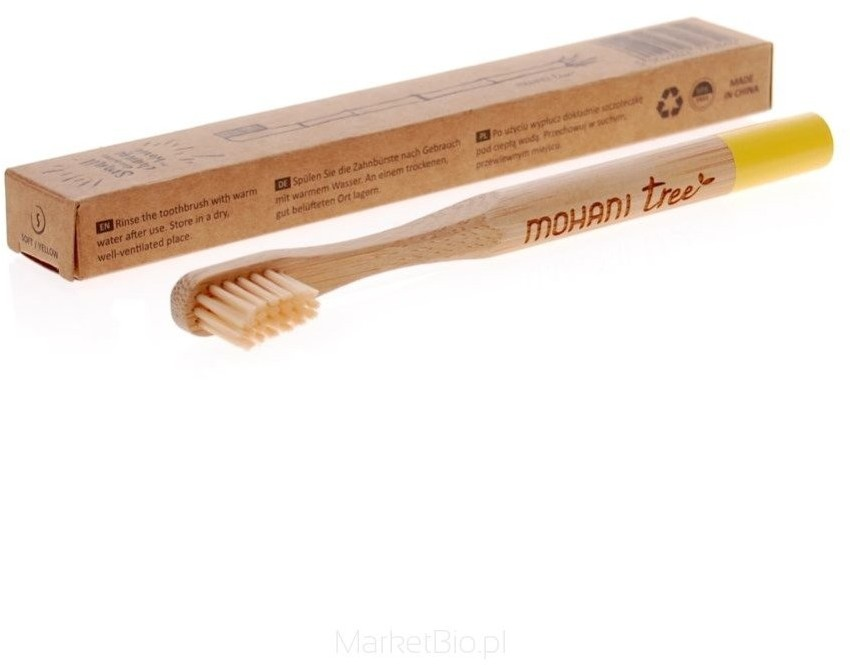 MOHANI MOHANI Bambusowa żółta szczoteczka do zębów dla dzieci Soft 83037-uniw
