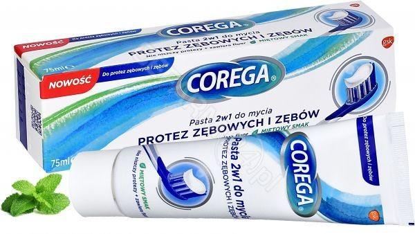 GlaxoSmithKline Corega pasta 2w1 do mycia protez zębowych i zębów 75 ml