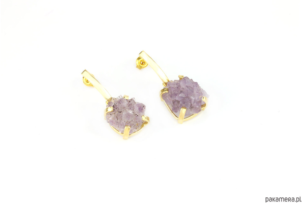 Earrings Ametyst Szczotka złoto