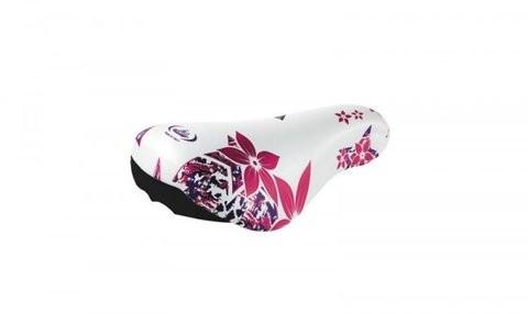 MONTE GRAPPA Siodło rowerowe kwiaty biało-różowe 12-16