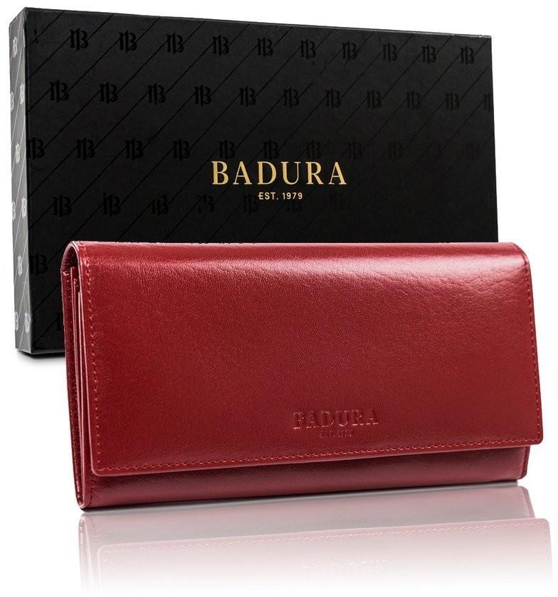 BADURA Duży czerwony portfel damski skóra naturalna Badura
