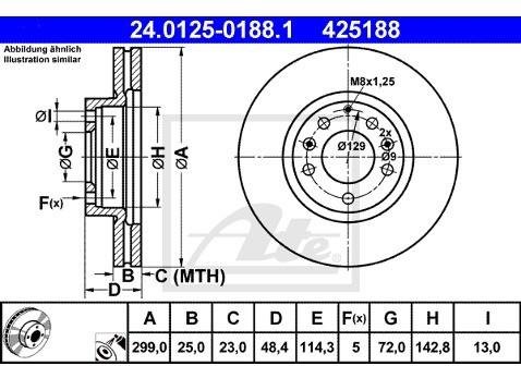 ATE TARCZA HAM 24.0125-0188.1 MAZDA 6 1.8 MZR 120KM 07-, 2.0 MZR 147KM 07-  24.0125-0188.1