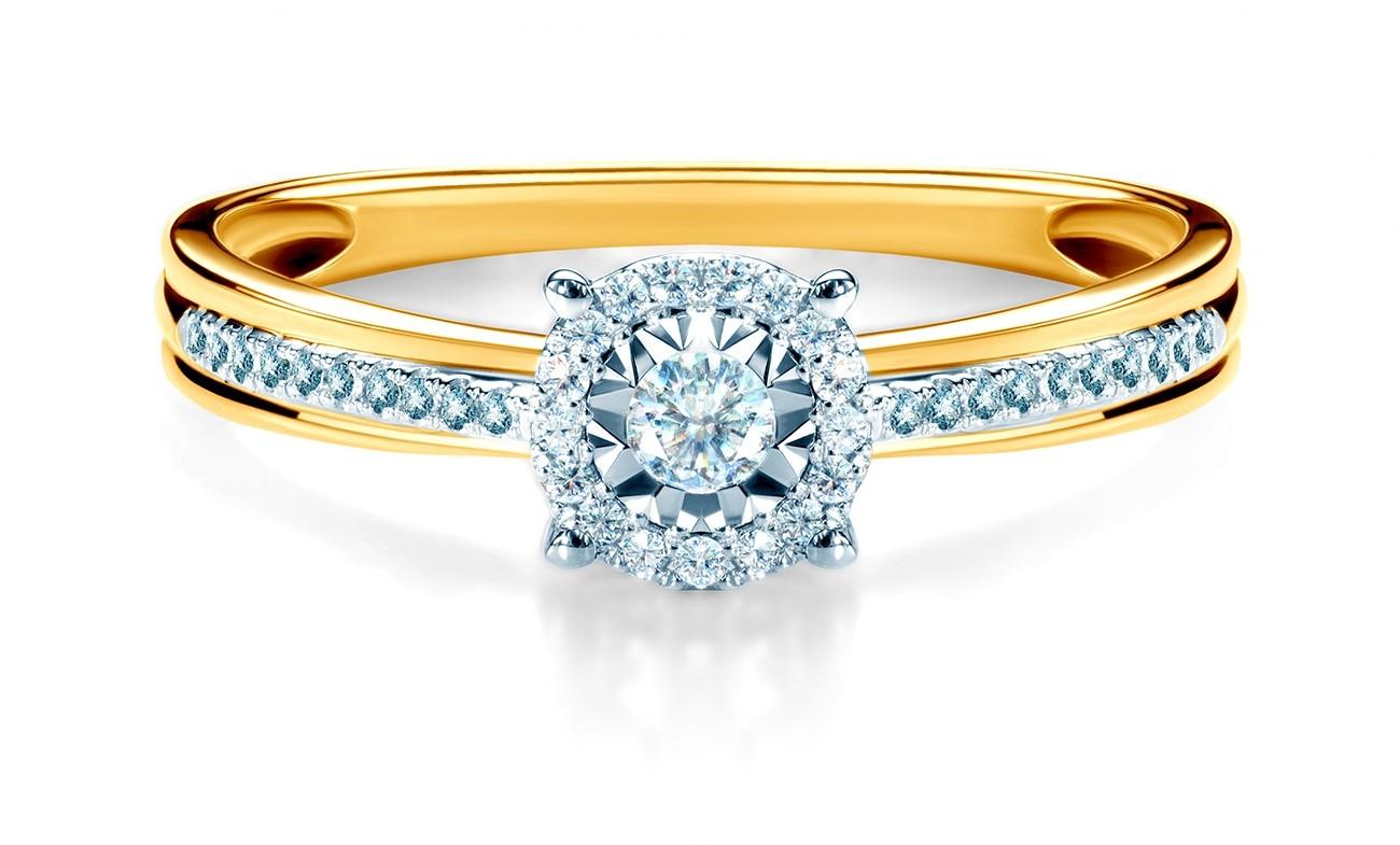 Savicki Pierścionek zaręczynowy dwukolorowe złoto, diamenty SAVR55159 YW
