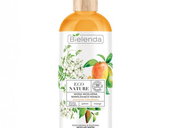 BIELENDA ECO NATURE - Śliwka kakadu + Jaśmin + Mango - woda micelarna do oczyszczania i demakijażu nawilżająco-kojąca, 500 ml