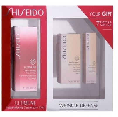 Shiseido Ultimune Power Infusing Concentrate Koncentrat pielęgnacyjny 30ml + Benefiance WrinkleResist24 Day Przeciwzmarszczkowy krem pod oczy 5ml + Benefiance WrinkleResist24 Intensive Eye Contour Naw
