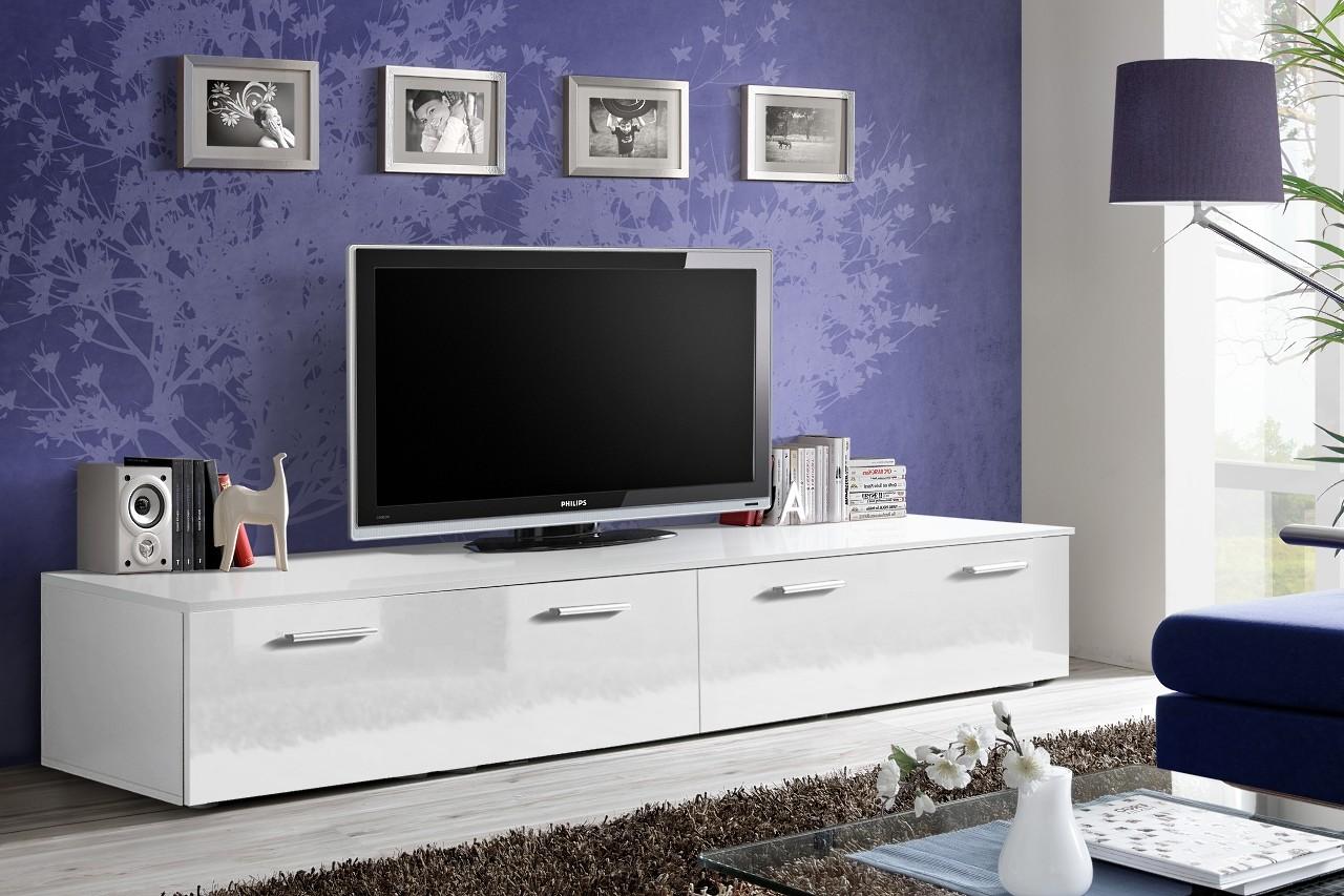 ASM Meble Szafka RTV DUO biały połysk/biały mat ze srebrnymi uchwytami ASM Meble 23WWDU