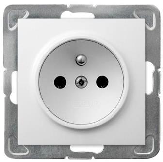 LEDart pojedyncze z uziemieniem, bez ramki - Ospel Impresja GP-1YZ/m/00, kolor biały, 16A/250V