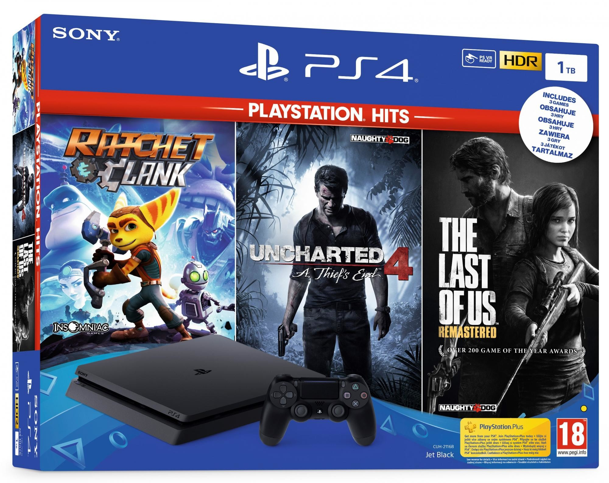 Sony Playstation 4 Slim 1TB + Uncharted 4 + The Last of Us + Ratchet & Clank