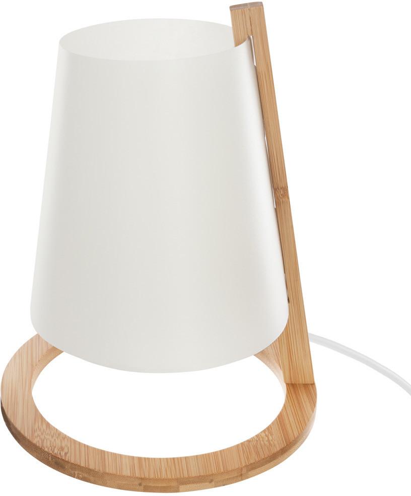 Atmosphera Créateur d'intérieur Atmosphera Créateur dintérieur Elegancka lampa stołowa kolor biały bambusowa podstawa materiał klosza polipropylen i papier wymiary 20x26 cm B07GZYN3ZJ