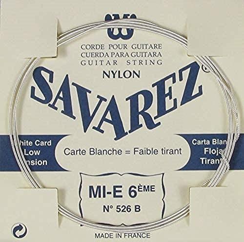 Savarez pojedynczy sznurek do klasycznej gitary tradycyjny koncert 526B pojedynczy sznurek E6W niski, pasuje do zestawu strun 520B CSA 526B